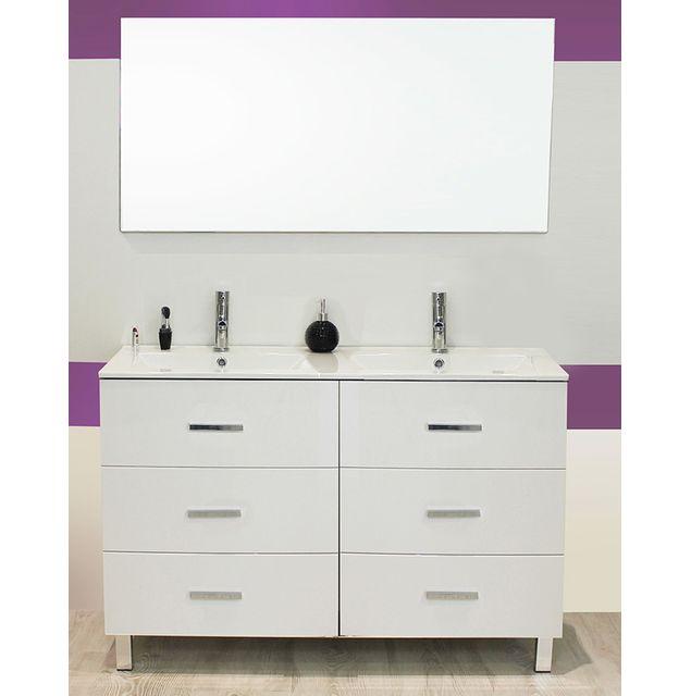 Evidence - Meuble sur pieds 120 Cartanne, blanc + double vasque, miroir, 2 spots