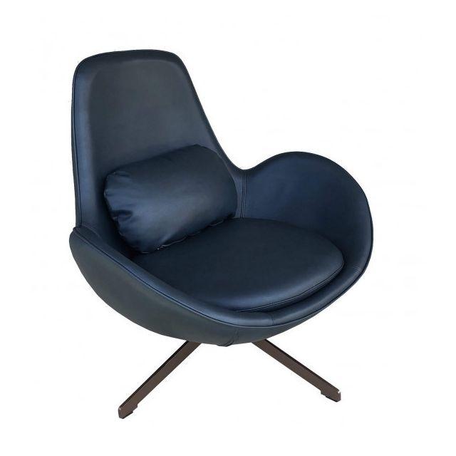 Mathi Design Space - Fauteuil contemporain en aspect cuir bleu