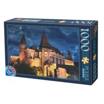 Dtoys - Puzzle 1000 pièces : Château des Corvin : Hunedoara : Roumanie : vue de nuit