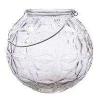 Kaemingk - Photophore en verre avec anse facettes triangles D.21cm Let It Snow