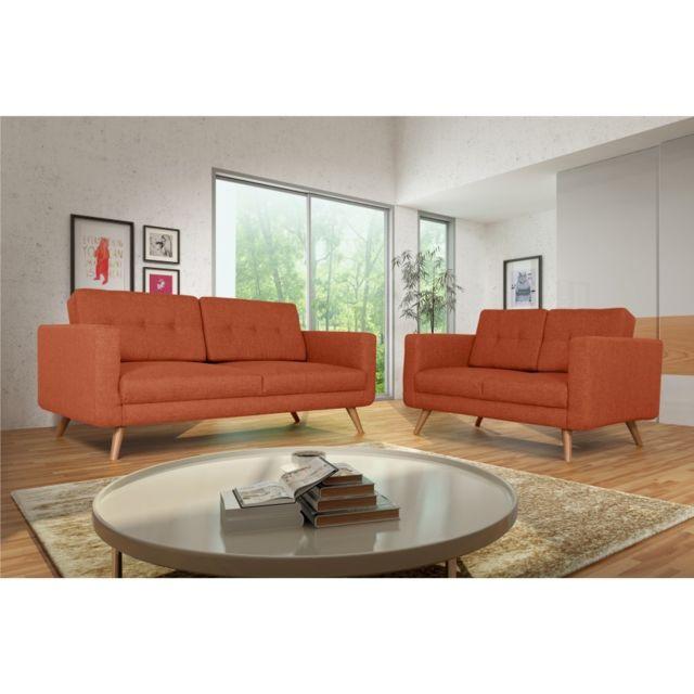 Rocambolesk Canapé Hedvig 3+2 savana orange 18 pieds naturels sofa divan