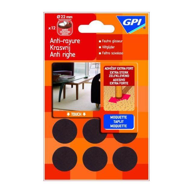 gpi 007003 12 patins feutre glisseur adh sif pas cher achat vente pieds roulettes pour. Black Bedroom Furniture Sets. Home Design Ideas