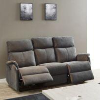 tousmesmeubles canap relax lectrique 3 places tissu gris esos - Canape Relax 3 Places