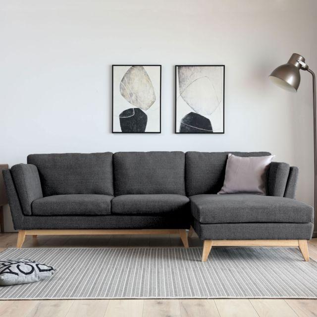 Concept Usine Norden gris foncé : Canapé scandinave 3 places avec méridienne et pieds bois