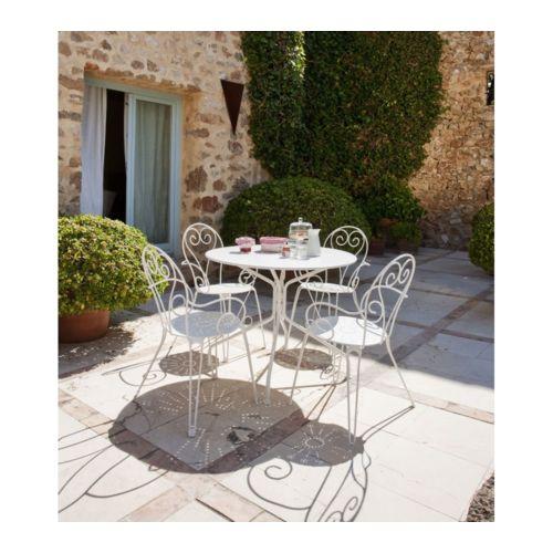 HYBA - Fauteuil de jardin - Acier - Blanc + Table de jardin ronde ...