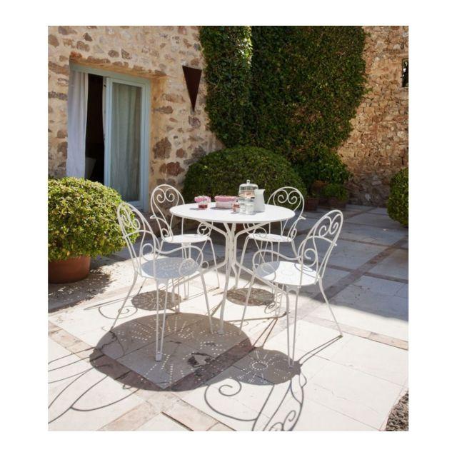 CARREFOUR - Fauteuil de jardin Romantique - Acier - Blanc - pas cher ...
