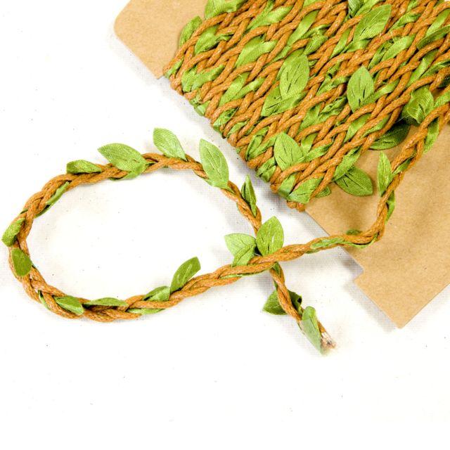 Visiodirect Lot de 10 Rubans forme feuille coloris Vert et ivoire - Dim : 8 mm x 2 m