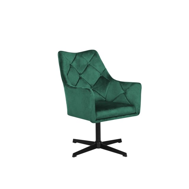 BELIANI Fauteuil en velours vert foncé VAKSALA - gris