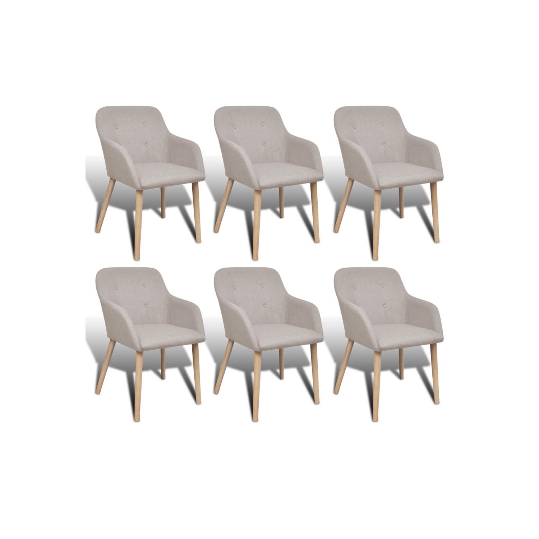 vidaxl chaise gondole accoudoir int rieur en ch ne et tissu 6 pcs beige pas cher achat. Black Bedroom Furniture Sets. Home Design Ideas