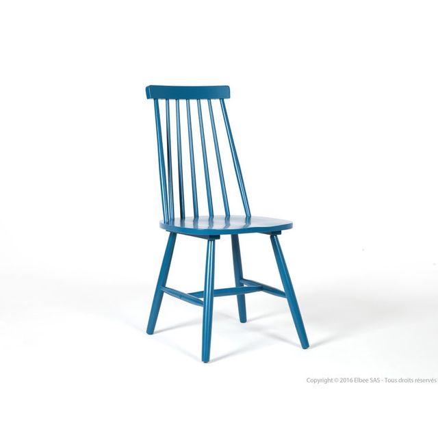 Axe Design - Chaise à barreaux vintage en bois - lot de 4 Ralf - Bleu