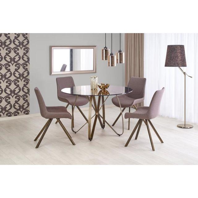 Carellia Ensemble table à manger ø : 120 cm x H : 76 cm + 4 chaises