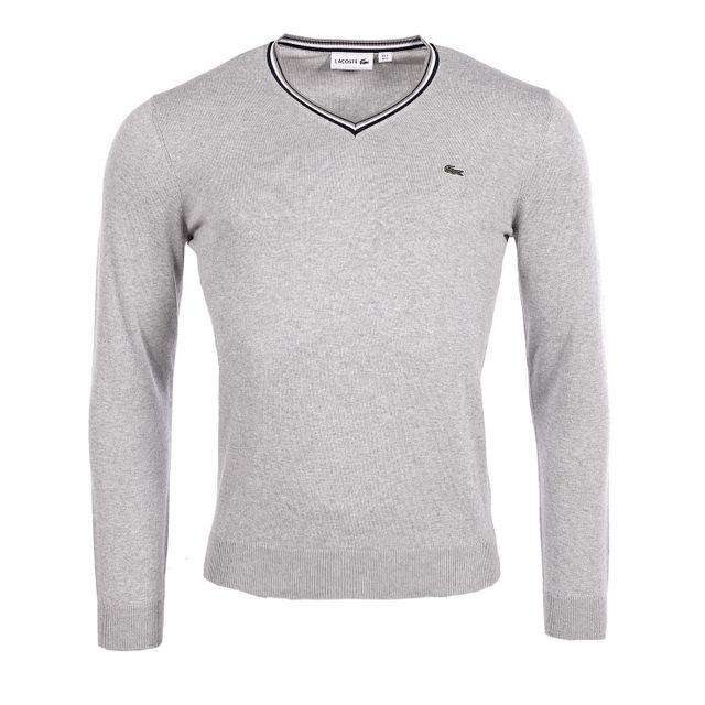d08602e7cb Lacoste - Homme - Pull col V rayé en jerseay gris Ah9199 - pas cher Achat /  Vente Blouson homme - RueDuCommerce