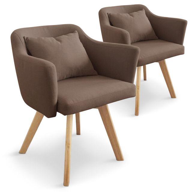 MENZZO Lot de 2 fauteuils scandinaves Dantes Tissu Taupe
