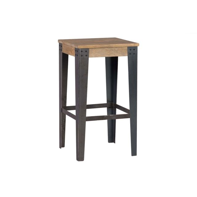 Tabouret De Bar Metal Et Bois.Tabouret De Bar Industriel Metal Et Bois 65 Cm Madison