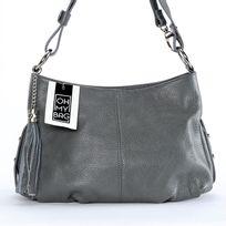 Oh My Bag - Sac à Main femme en cuir avec pompon - Modèle Lobe gris foncé