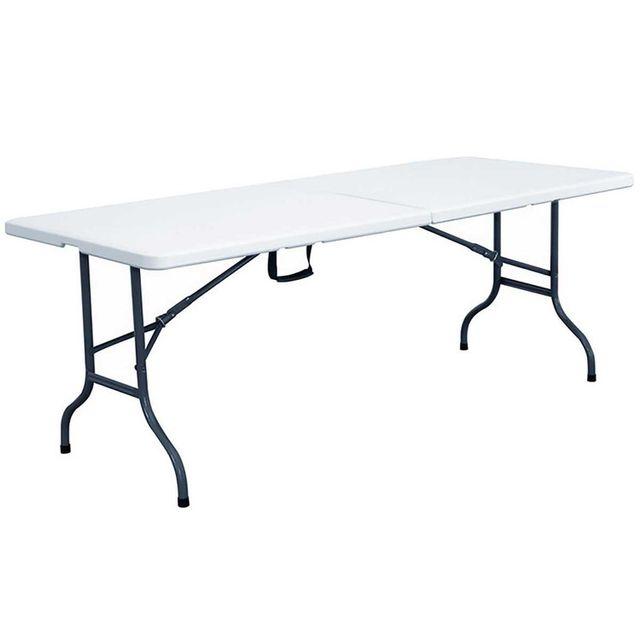 Table de jardin en résine pliante format valise 244x76cm
