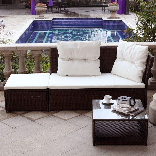 mobilier jardin resine tressee blanc - achat mobilier jardin