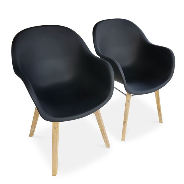 ALICE'S GARDEN Lot de 2 fauteuils scandinaves CELEBES, acacia et résine injectée, anthracite, Intérieur/extérieur