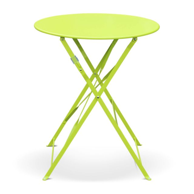 ALICE\'S GARDEN - Table de jardin bistrot pliable - Emilia ronde ...