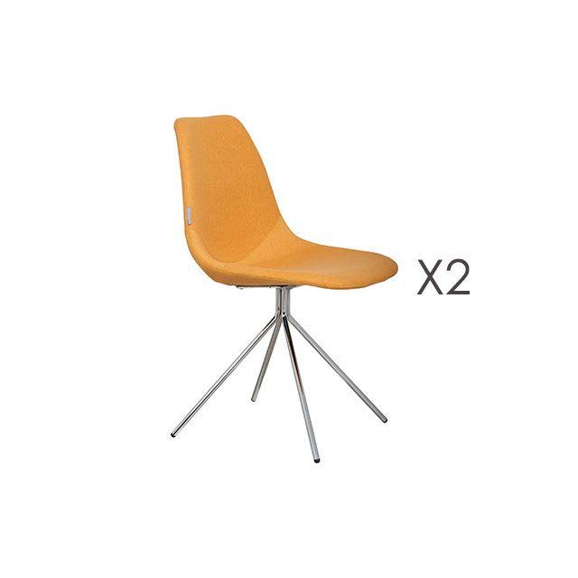 Lot de 2 fauteuils en tissu - jaune