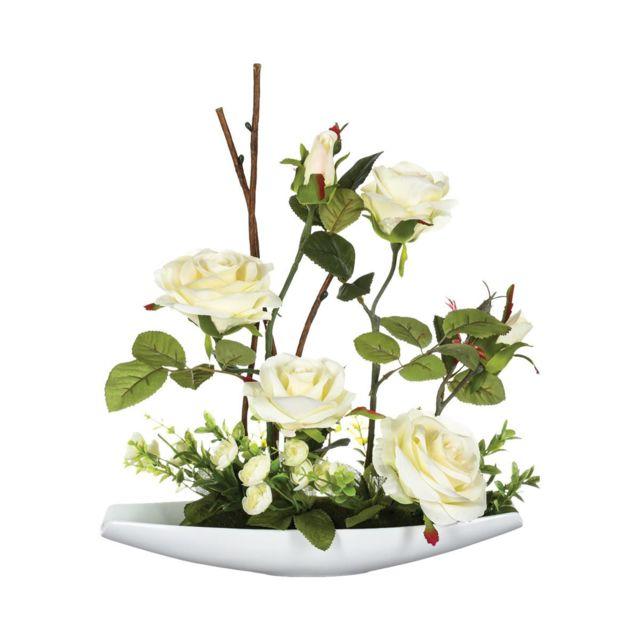 Atmosphera, Createur D'INTERIE Atmosphera - Composition de roses en céramique H36.5
