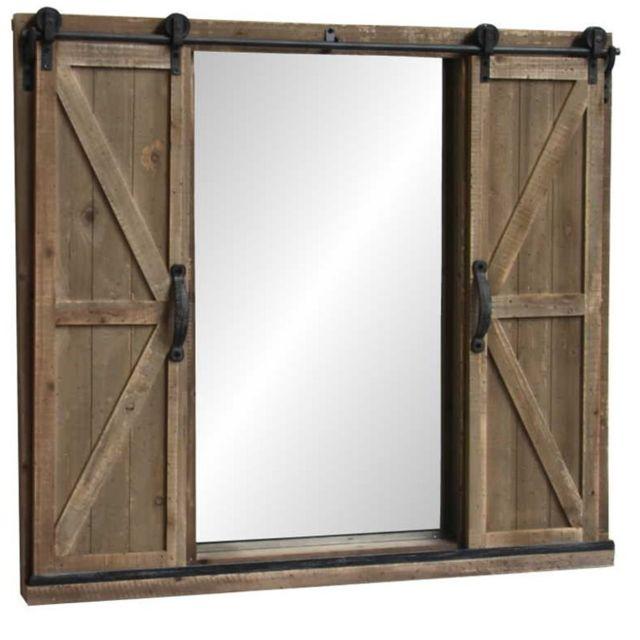 L'ORIGINALE Deco Grand Miroir à Volets Fenêtre Industriel Bois sur Roulette 100 cm x 90 cm