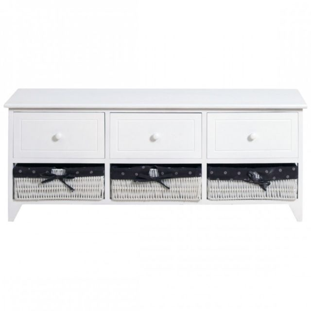 mobili rebecca banc coffre de rangement 3 tiroirs bois 3 tiroirs osier blanc francais entr e. Black Bedroom Furniture Sets. Home Design Ideas