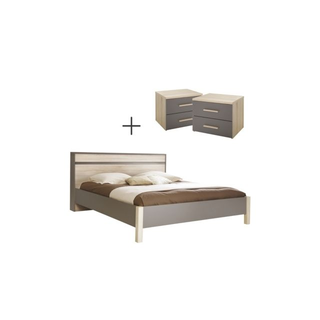 camif ensemble lit 2 chevets 140 x 190 cm gris chocolat non applicable 140cm x 190cm pas. Black Bedroom Furniture Sets. Home Design Ideas