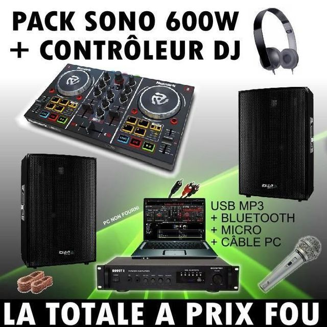 Ibiza Sound Sono dj + controleur numark party mix + ampli + enceintes 600 + câble + micro pa dj sono led light bar club bar disco