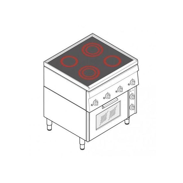 Materiel Chr Pro Fourneau dessus électrique vitrocéramique avec four électrique - 4 plaques - gamme 600 - Tecnoinox - 600