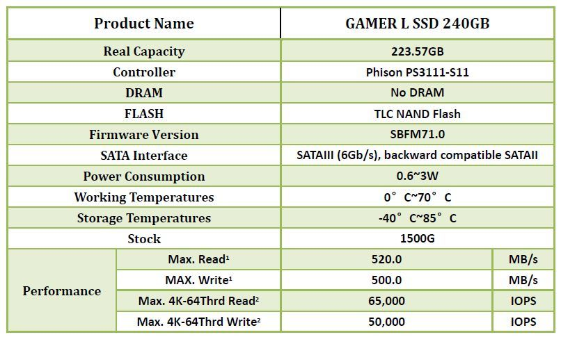 SEAGATE SSD Gamer L 240 Go TLC - PHISON S11 + Disque dur interne