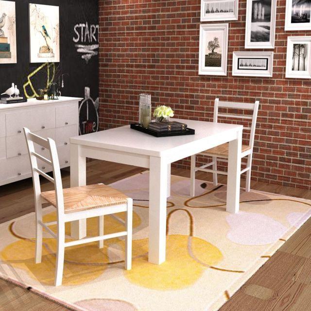 Icaverne Chaises de cuisine et de salle à manger collection Chaise de salle à manger 2 pcs Bois Blanc