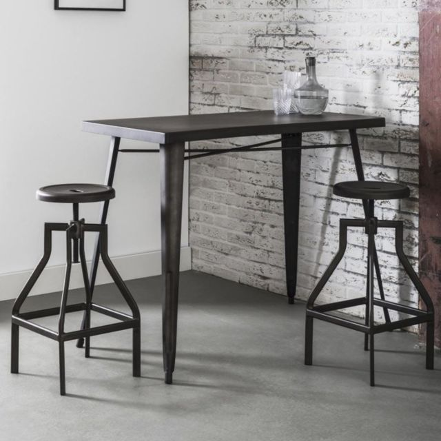 Inside 75 - Table de bar 120 60 cm Industry style industriel en acier -