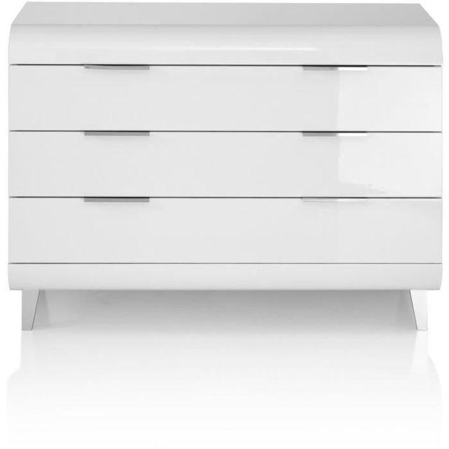 Icaverne COMMODE DE CHAMBRE VEGA Commode 3 tiroirs - Style contemporain - Blanc laqué - L 100 x P 45 x H 70 cm