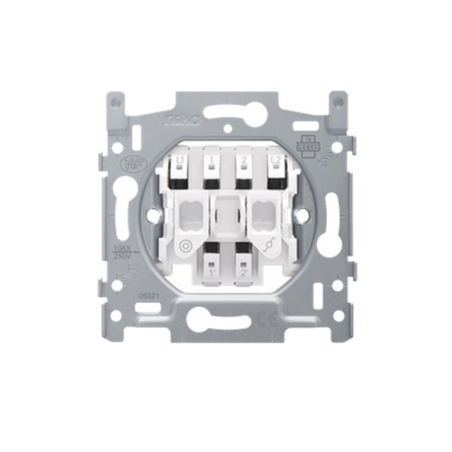 Niko - 170-05615 - Mécanisme interrupteur double : interrupteur va-et-vient et bouton-poussoir N.O 10 Ax/250 Vac