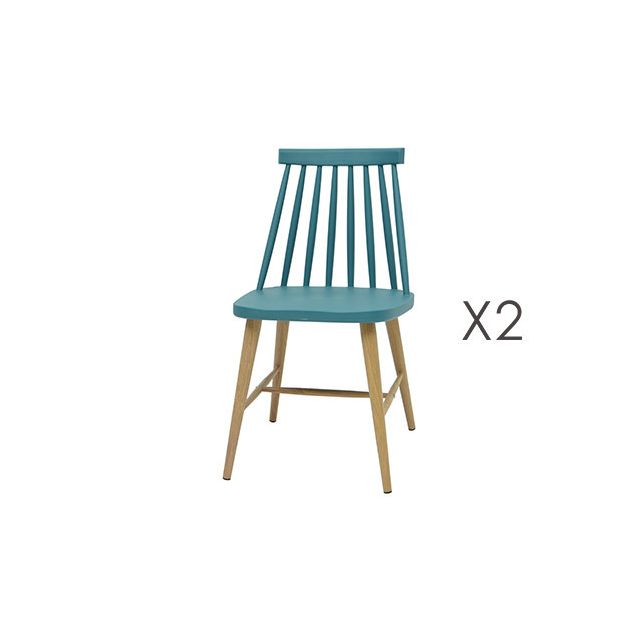 lot de 2 chaises scandinave bleu - Chaises Scandinaves Bleu
