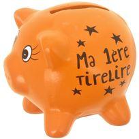 Promobo - Tirelire En Céramique Design Petit Cochon Mots Humour Ma 1ere Tirelire Orange