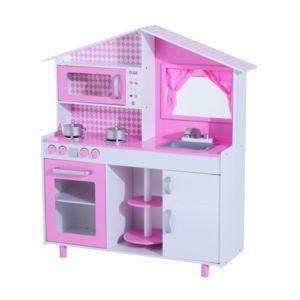HOMCOM Cuisine Pour Enfants En Bois Jeu Jouet Dimitation Grand - Jeux de barbie cuisine