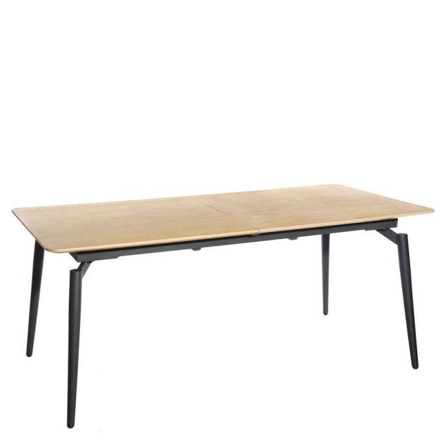 Ma Maison Mes Tendances Table à manger rectangulaire extensible 180-230cm en Mdf aspect bois naturel et pieds en métal Reppe - L 180 x l 90 x H