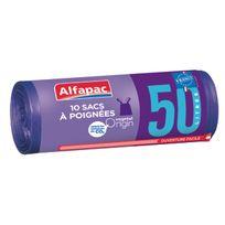 ALFAPAC - 10 Sacs poubelle à poignées - 50L - BRV05010OF