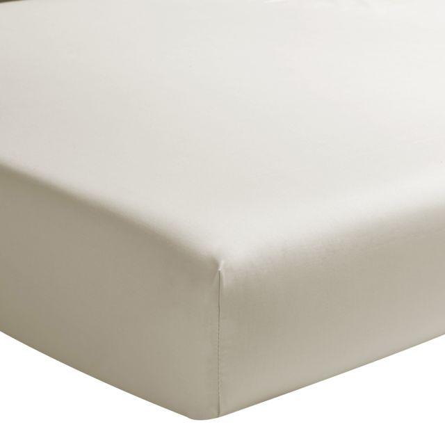 essix drap housse uni en percale de coton s same 160 x 200 cm pas cher achat vente draps. Black Bedroom Furniture Sets. Home Design Ideas