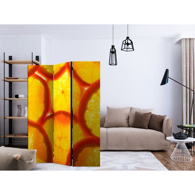 135x172 Paravent 3 volets Paravents 3 volets Stylé Orange slices Room Dividers
