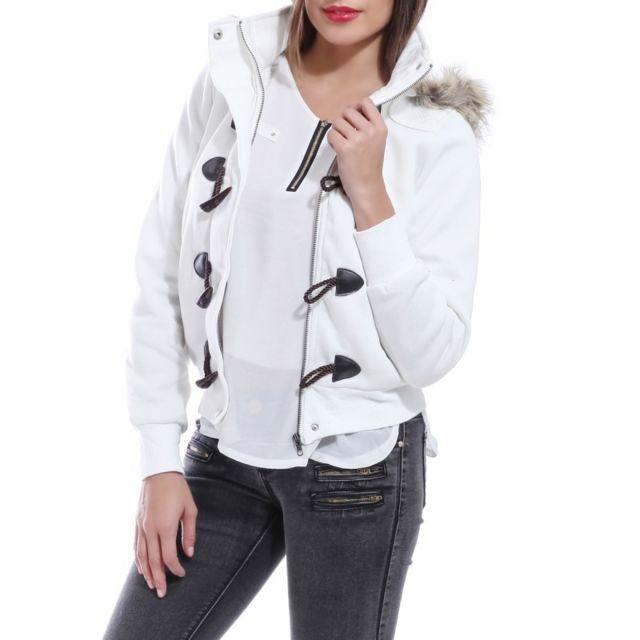La Modeuse - Manteau court à capuche blanc - pas cher Achat   Vente ... 5780fa38268