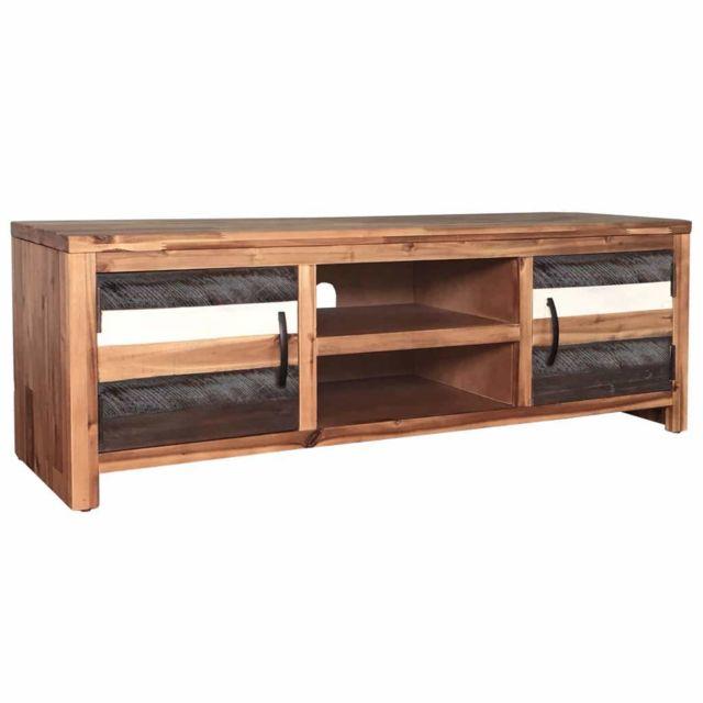 Helloshop26 Meuble télé buffet tv télévision design pratique bois massif d'acacia 120 cm 2502167/2