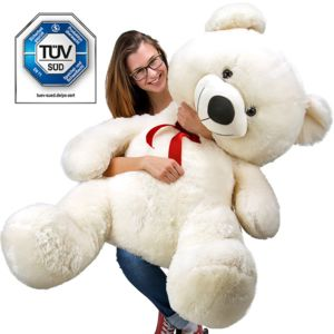 Justdeco - Superbe Grand Nounours Géant Ours En Peluche Ourson Xxl Teddy Bear 150 Cm diag - Blanc Neuf