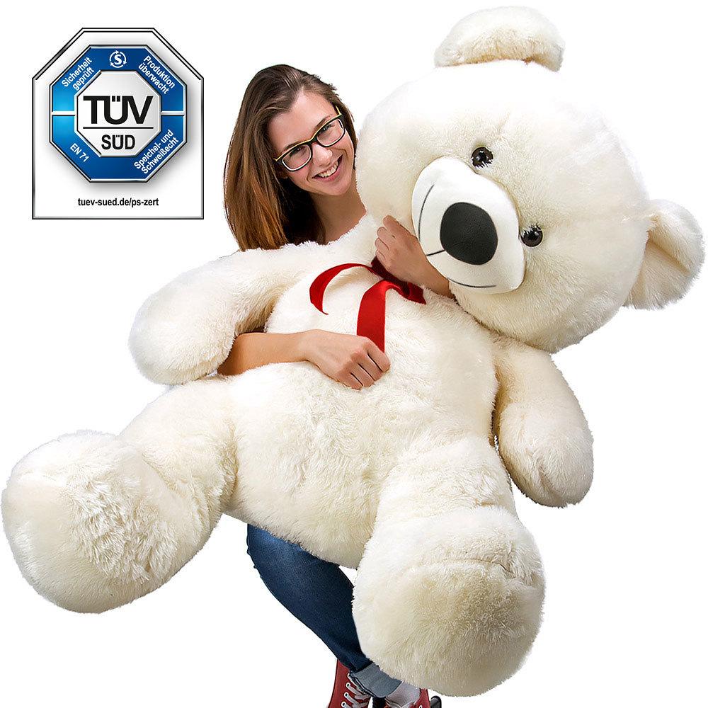 Superbe Grand Nounours Géant Ours En Peluche Ourson Xxl Teddy Bear 150 Cm diag - Blanc Neuf