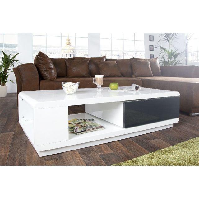 CHLOE DESIGN Table basse design Fortuna - blanc et gris