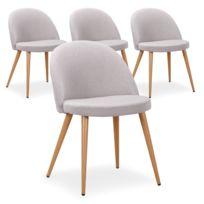 Lot de 4 chaises scandinaves Maury tissu Gris