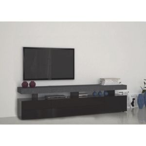inside 75 meuble tv5 design treviso effet marbre avec 4 tiroirs laqu noir pas cher achat. Black Bedroom Furniture Sets. Home Design Ideas