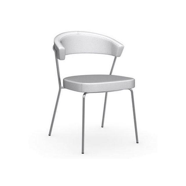 Inside 75 Chaise New York design italienne structure acier chromé assise cuir blanc optique